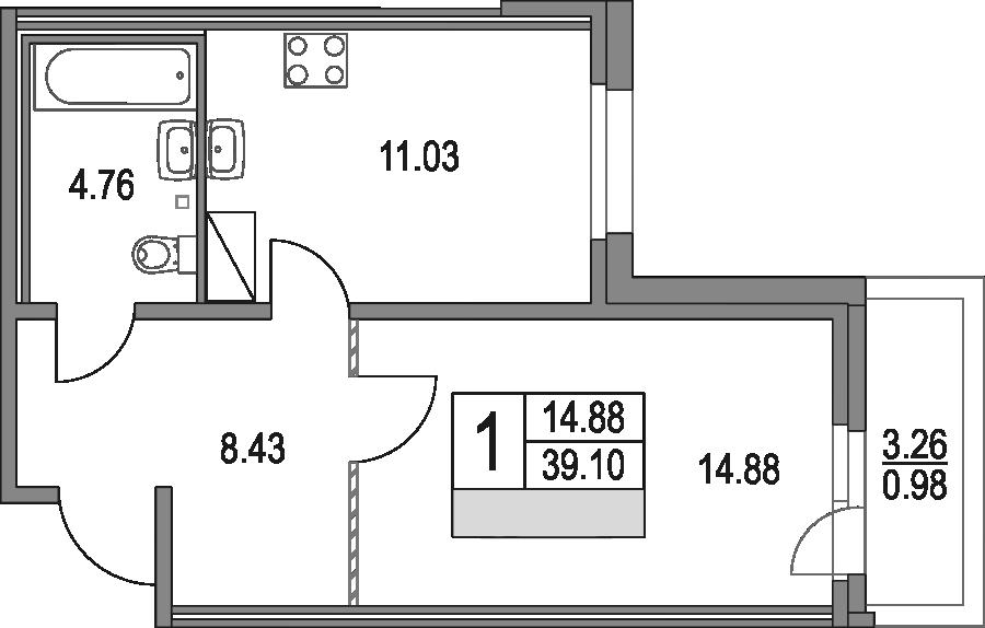 1-к.кв, 39.1 м², от 3 этажа