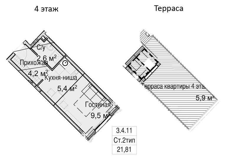 Студия, 41.6 м²