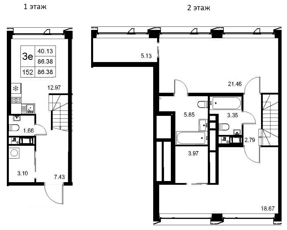 3Е-комнатная, 86.38 м²– 2