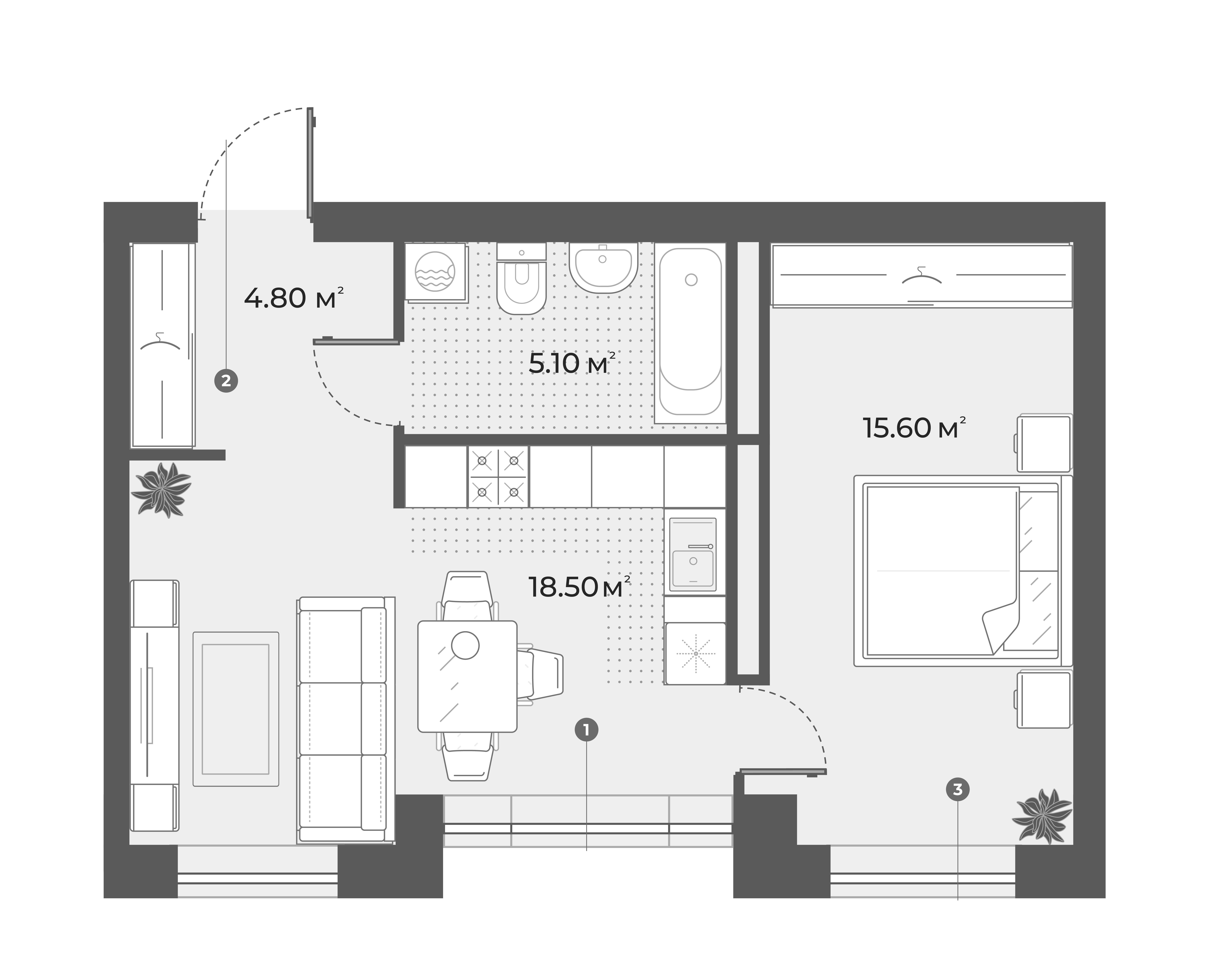 2Е-к.кв, 44 м², 3 этаж