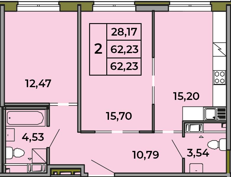3-к.кв (евро), 62.23 м²