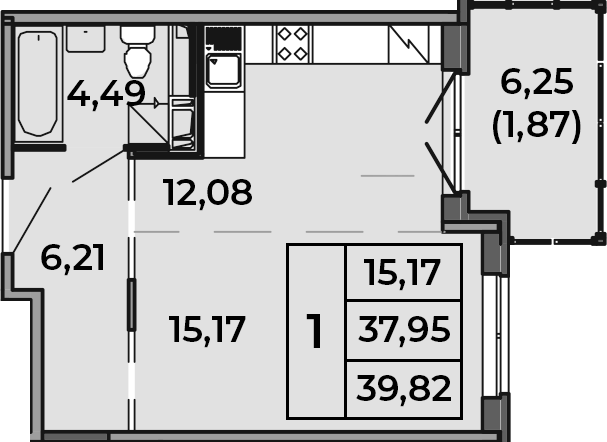 Студия, 39.82 м²– 2