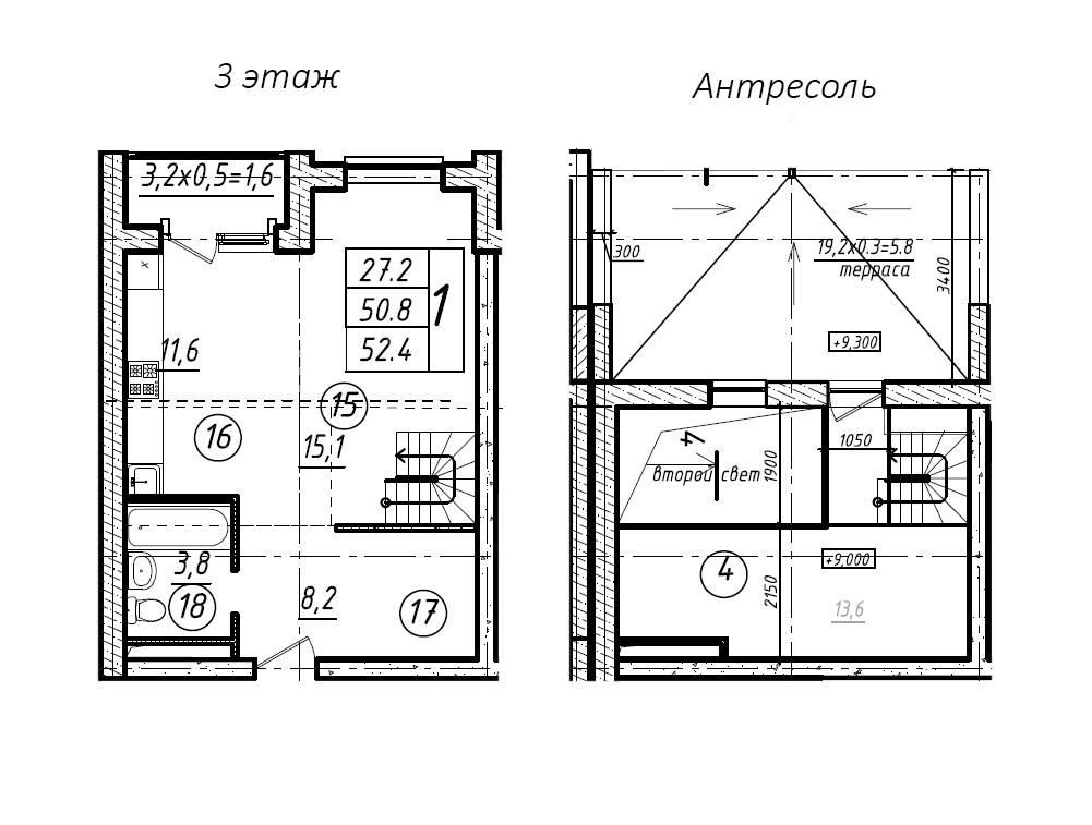 Студия, 52.4 м²– 2