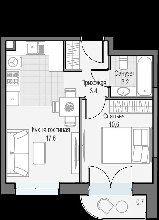 2Е-к.кв, 35.5 м², 15 этаж