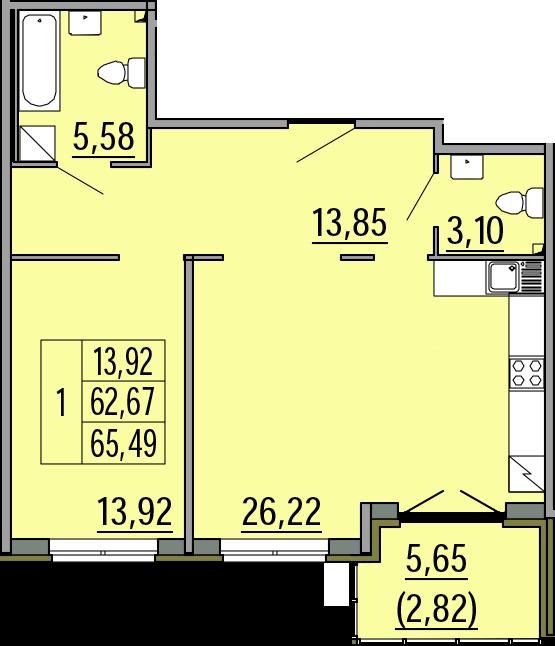 2Е-комнатная, 65.49 м²– 2