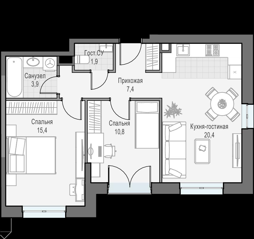 3Е-к.кв, 59.7 м², 24 этаж