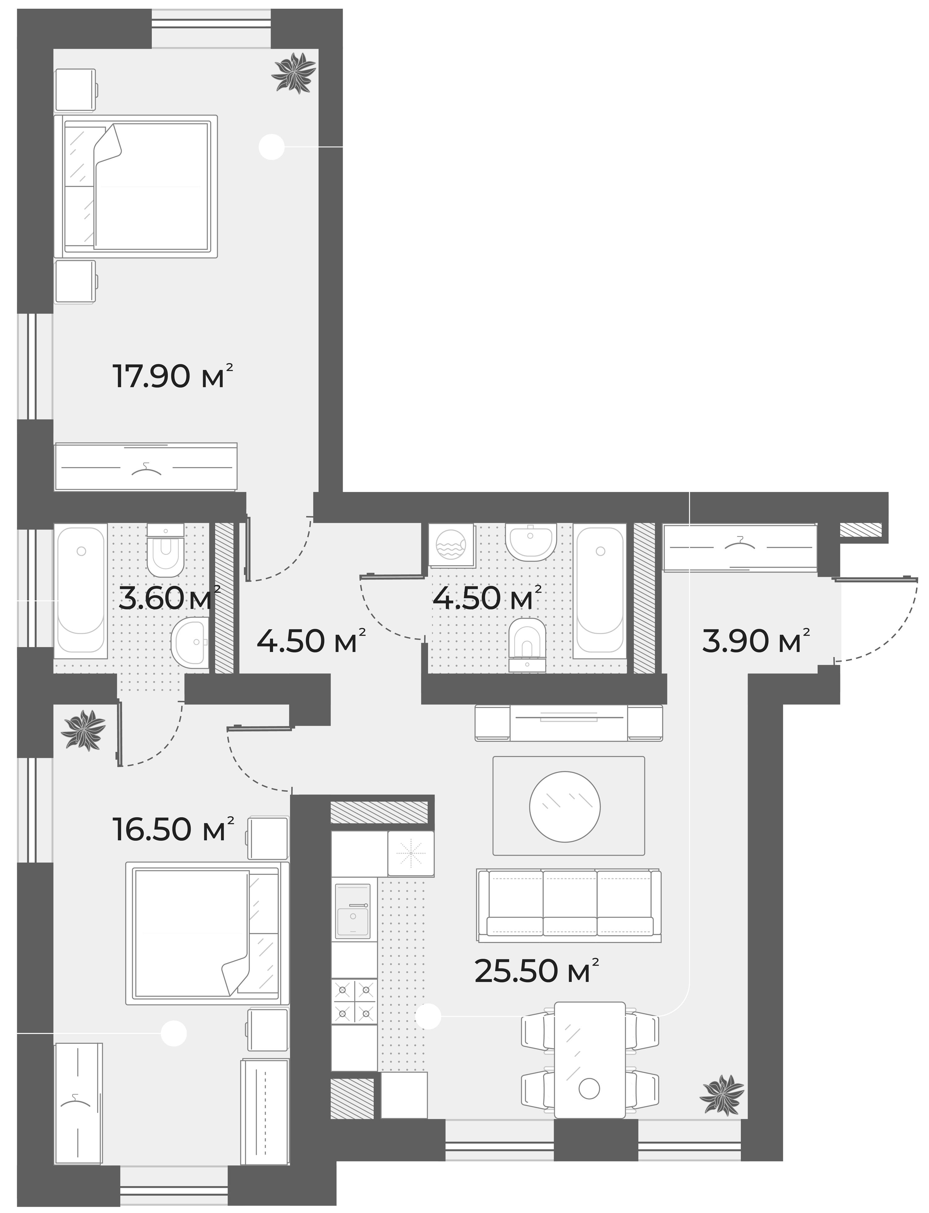 3Е-к.кв, 76.4 м², 2 этаж