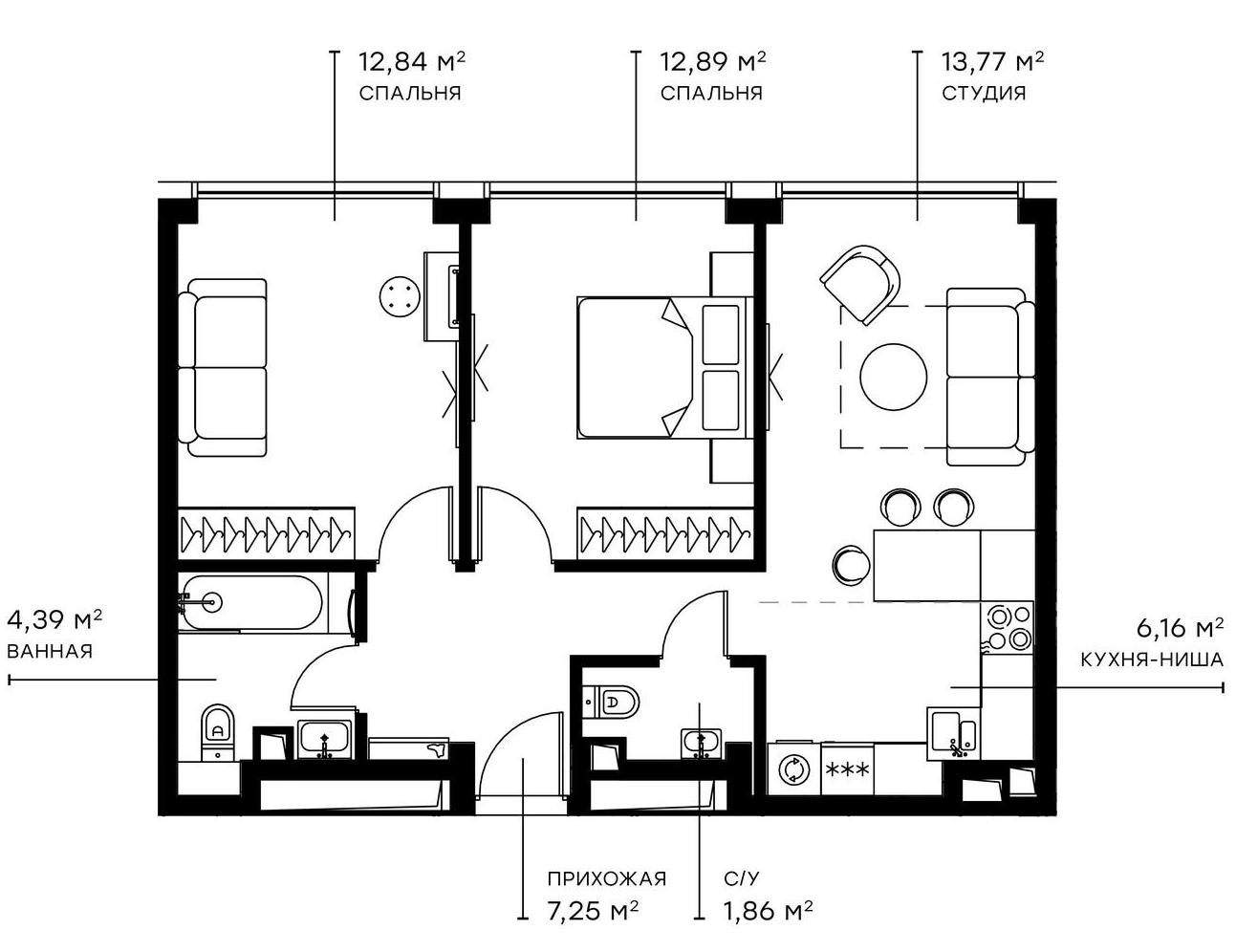 3Е-комнатная, 59.16 м²– 2