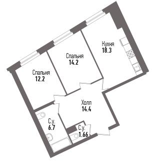 3-к.кв (евро), 67.46 м²