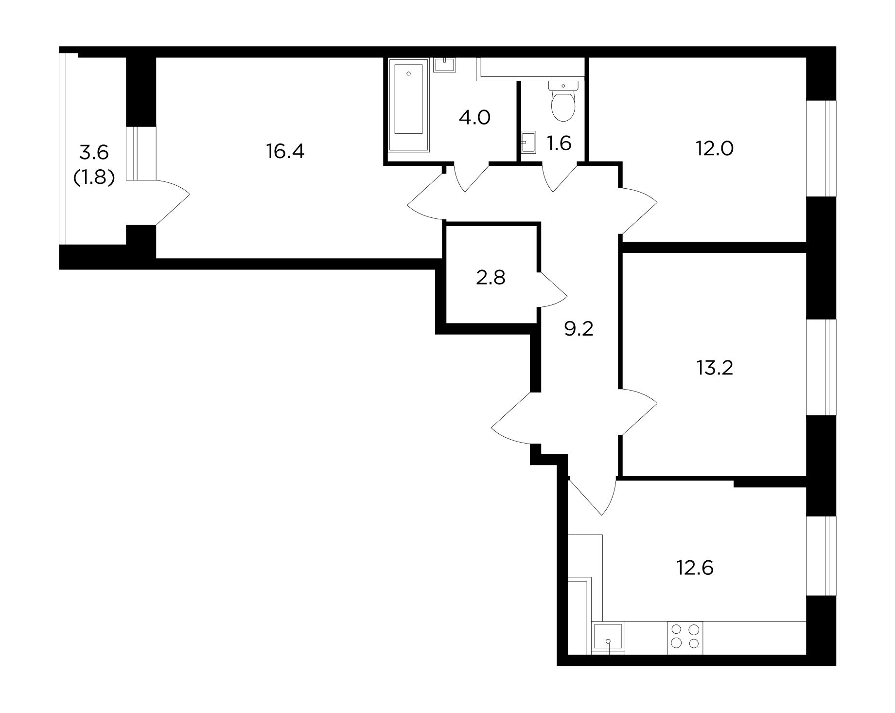 3-комнатная, 73.6 м²– 2
