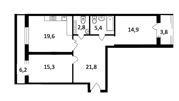 3Е-комнатная, 79.8 м²– 2