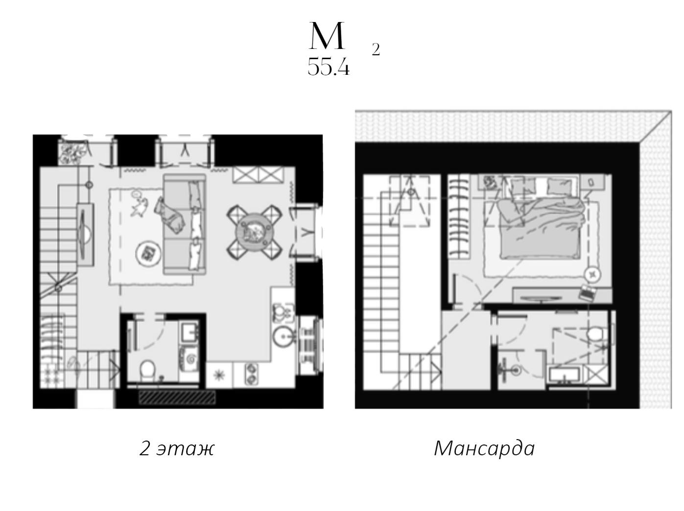 Своб. план., 55.4 м²
