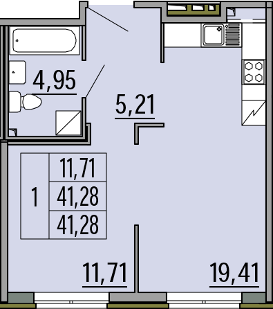 2Е-комнатная, 41.28 м²– 2