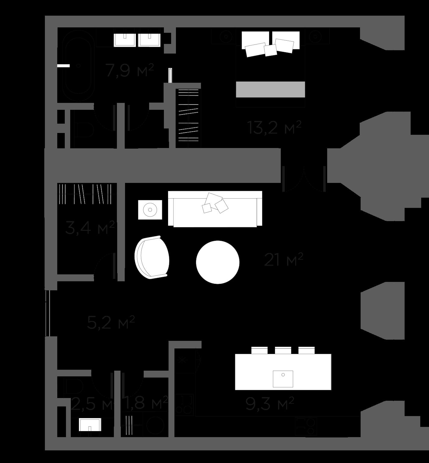 2Е-к.кв, 64.25 м²