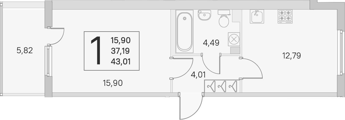 1-к.кв, 37.19 м², 2 этаж