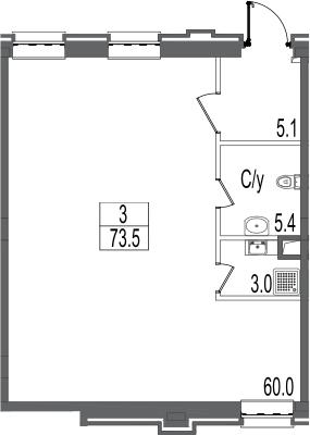 Свободная планировка, 73.5 м²– 2