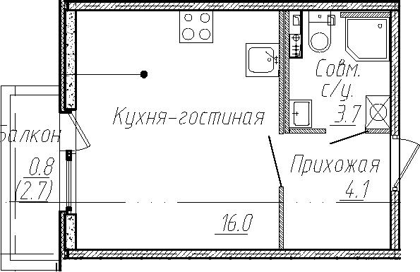 Студия, 23.8 м², 1 этаж