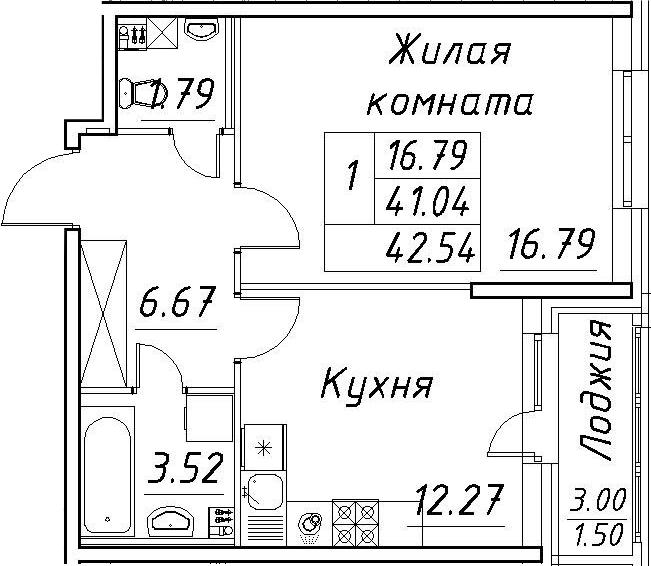 1-к.кв, 44.04 м²