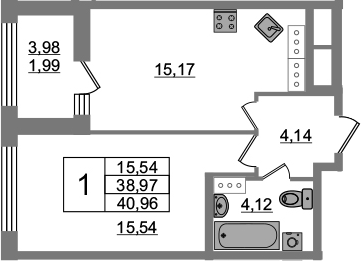 1-к.кв, 38.97 м², от 15 этажа