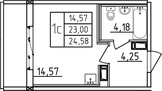 Студия, 28.27 м²