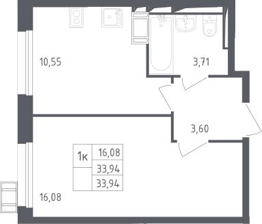 1-комнатная, 33.94 м²– 2