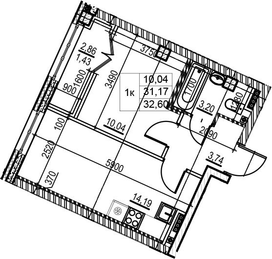 2-к.кв (евро), 34.03 м²