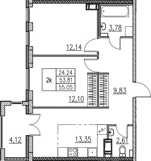 3Е-комнатная, 55.05 м²– 2