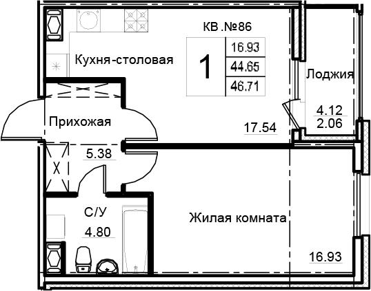 2Е-комнатная, 46.71 м²– 2