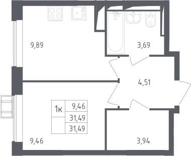 1-к.кв, 31.49 м²