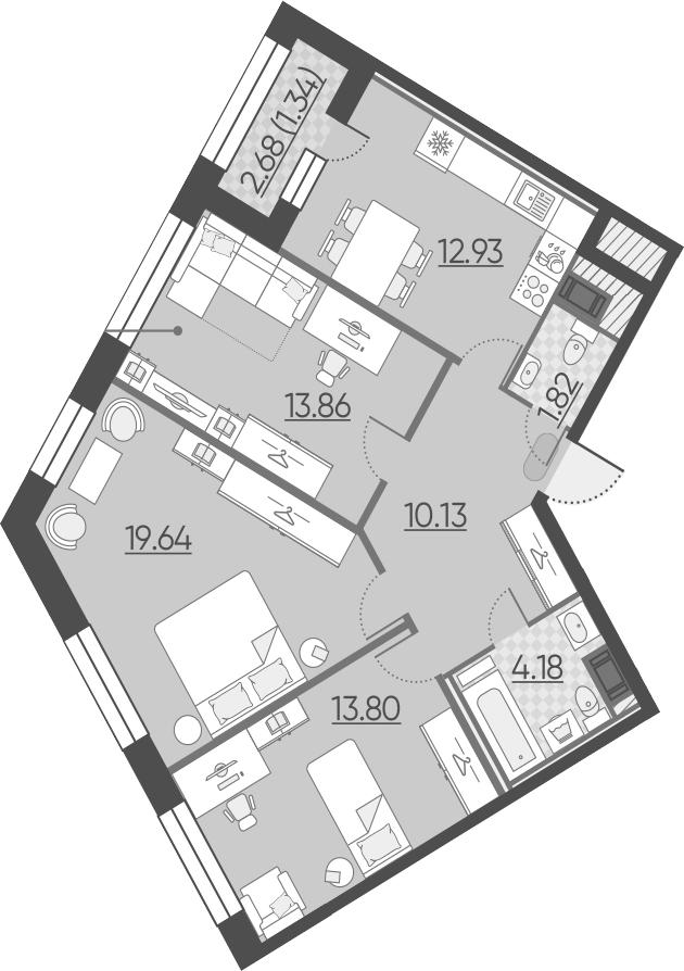 4-к.кв (евро), 79.04 м²