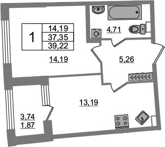 1-к.кв, 37.35 м², 2 этаж