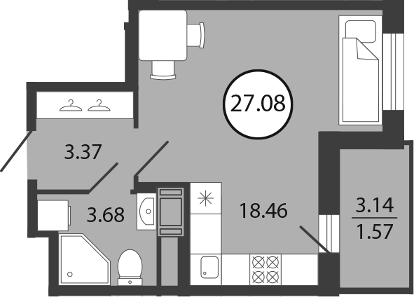 Студия, 27.08 м²