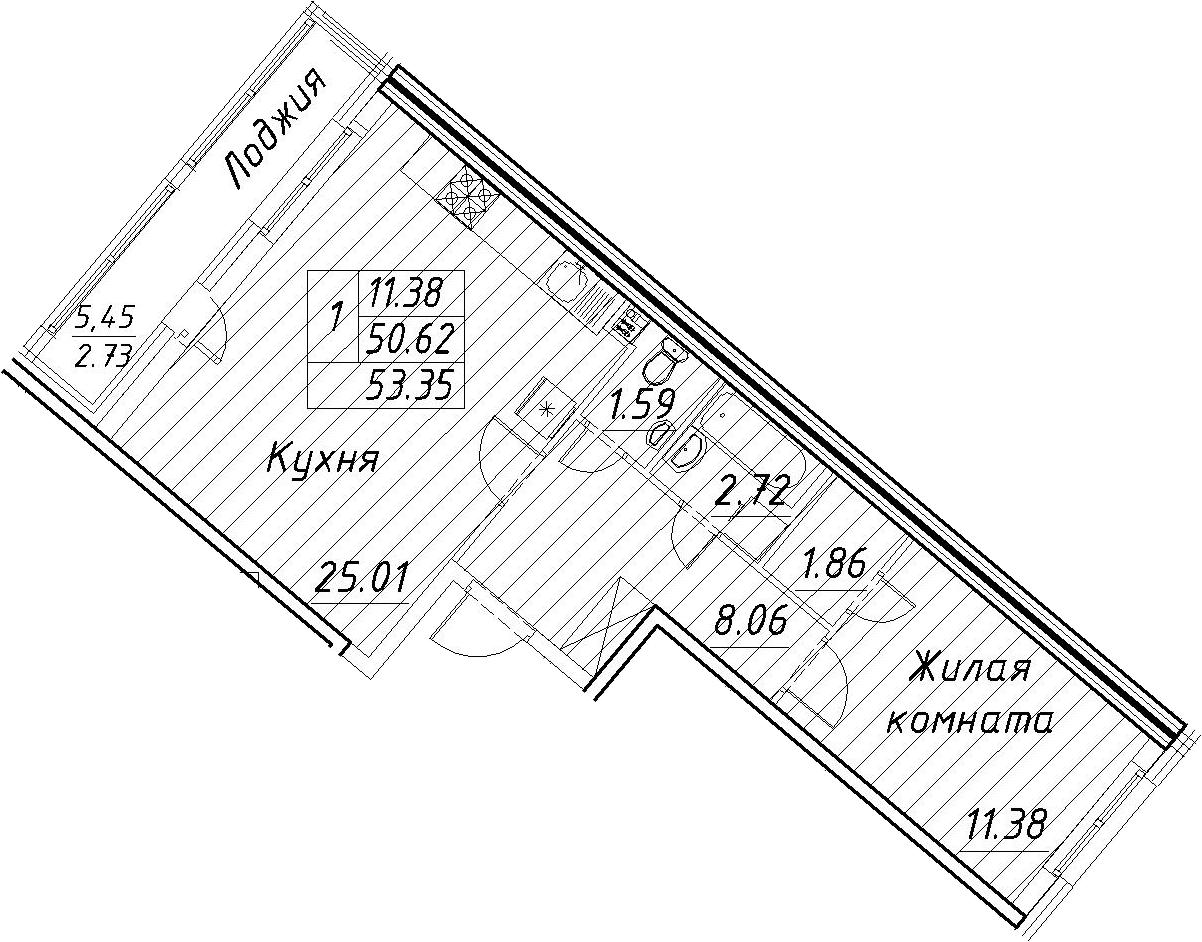 2-к.кв (евро), 56.08 м²