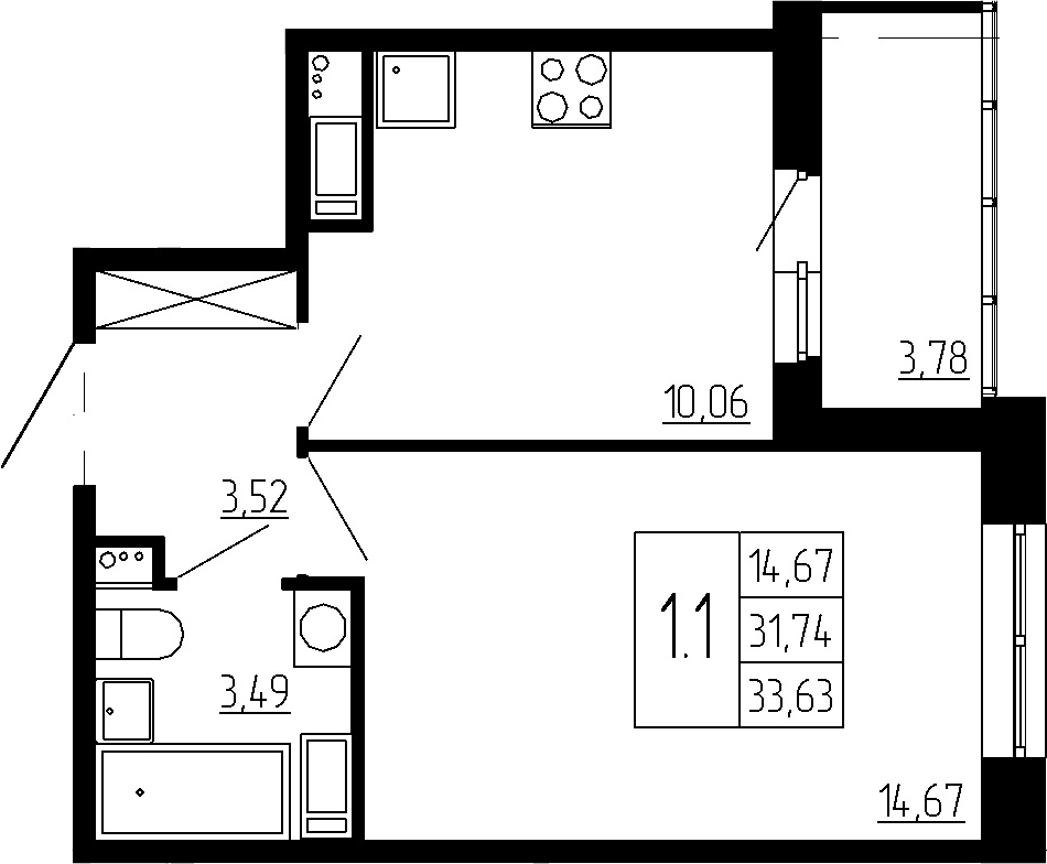 1-к.кв, 31.74 м²