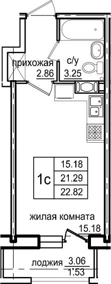 Студия, 22.82 м², 12 этаж