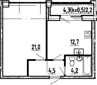 1-комнатная, 44.6 м²– 2