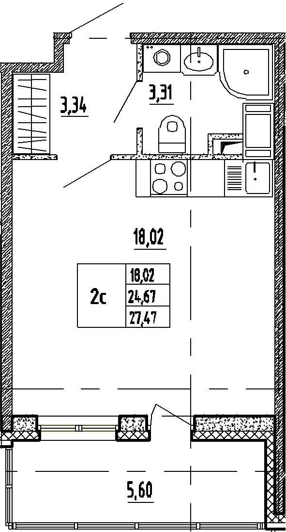 Студия, 30.27 м²