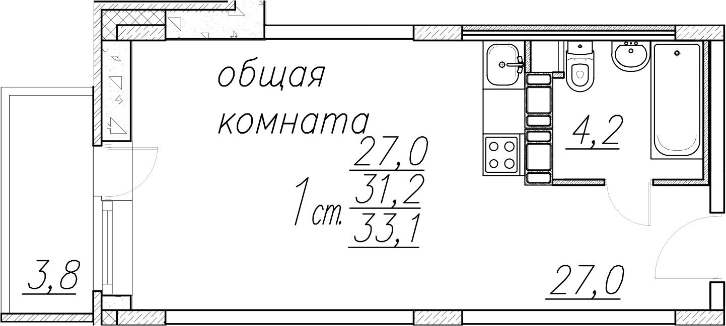 Студия, 35 м²