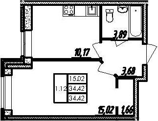 1-комнатная, 34.42 м²– 2