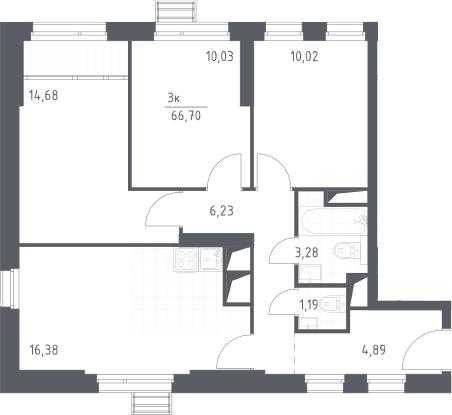 4Е-к.кв, 66.7 м²