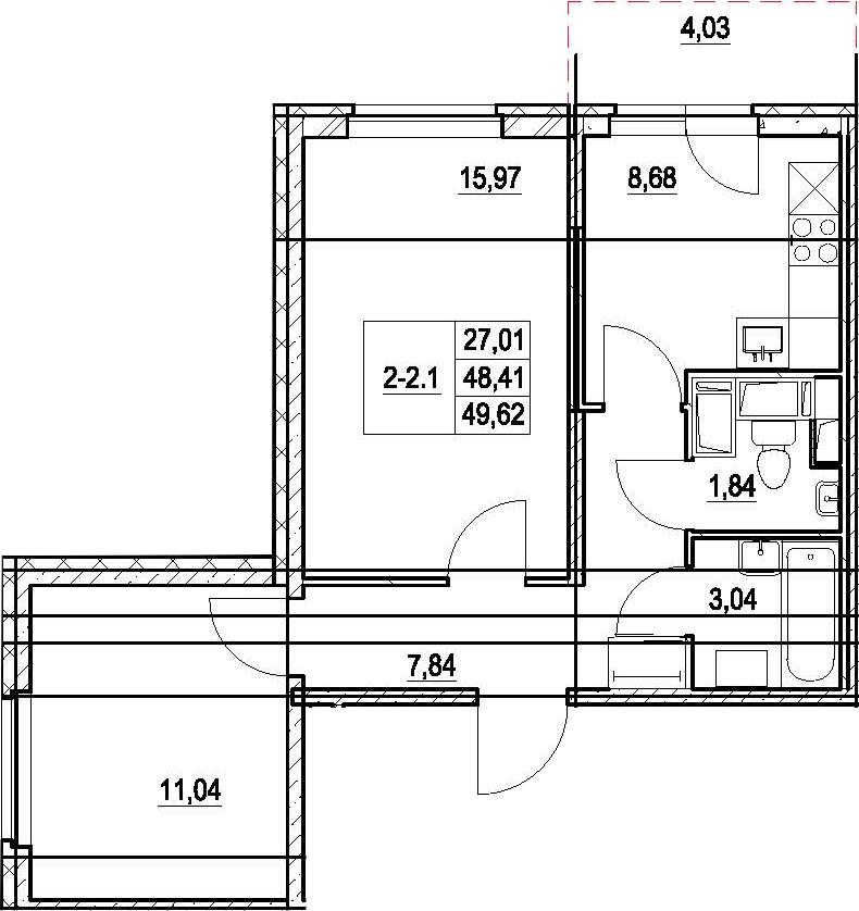 2-к.кв, 52.44 м²