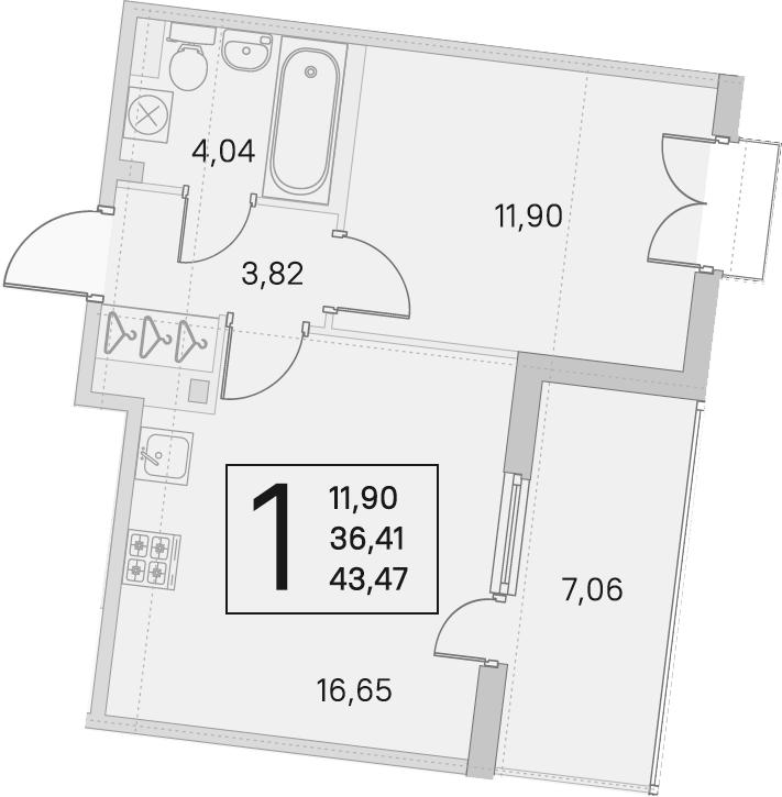 2Е-комнатная, 36.41 м²– 2