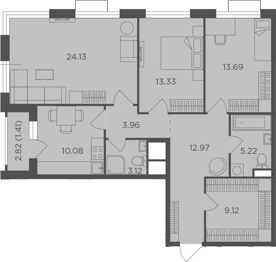 3-к.кв, 97.03 м², 23 этаж