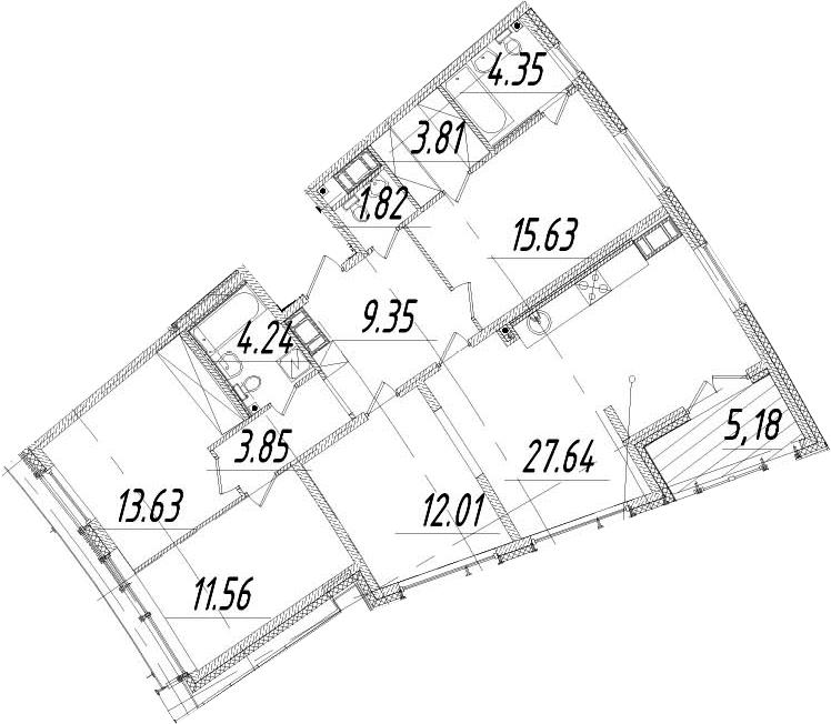 5Е-к.кв, 110.48 м², 13 этаж