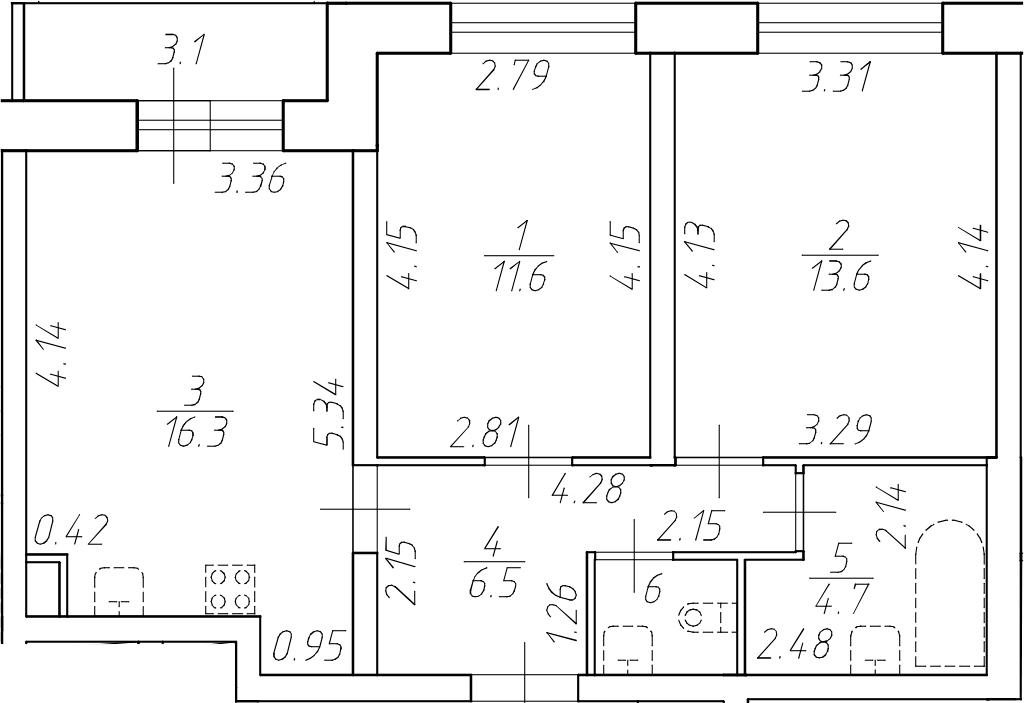 3Е-комнатная, 54.4 м²– 2
