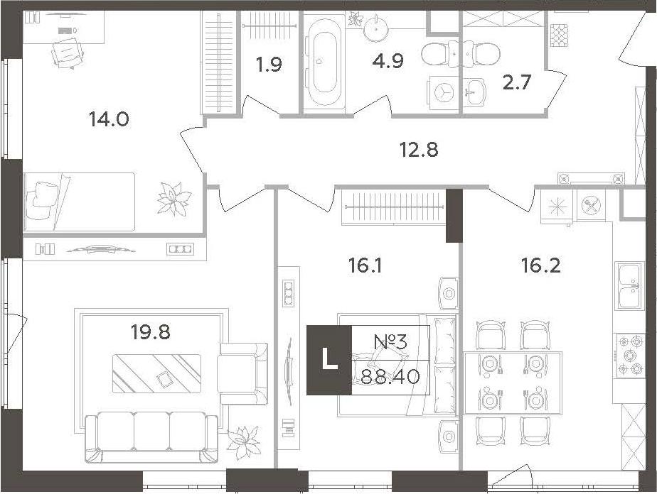 4-к.кв (евро), 88.4 м²