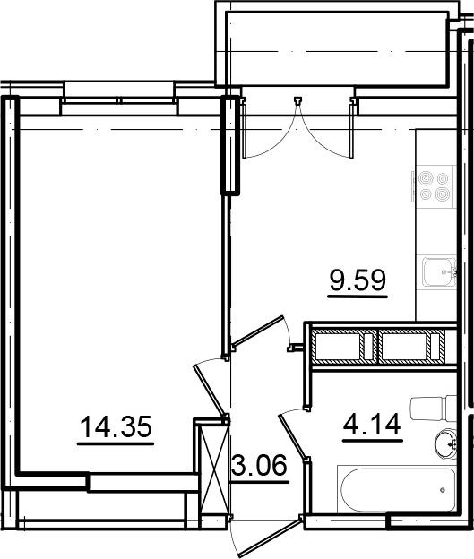 1-к.кв, 34.25 м²
