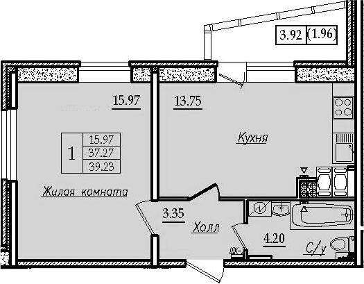 1-комнатная, 39.23 м²– 2