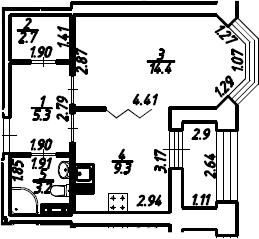 1-к.кв, 36.4 м², 8 этаж