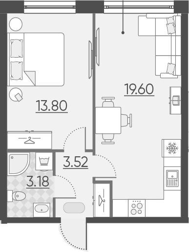 2Е-комнатная, 40.1 м²– 2